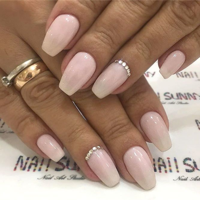 Natural Nails With Minimalistic Rhinestone Addition