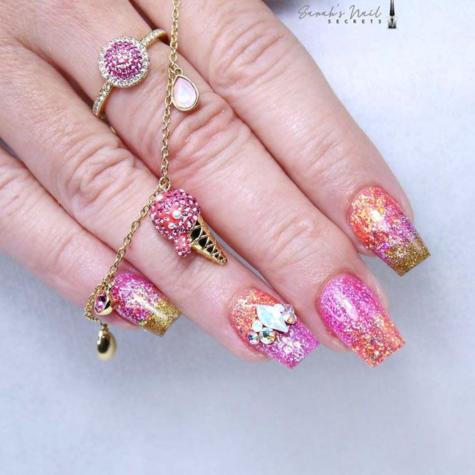 Sparkly Colorful Manicure With Stones Accent