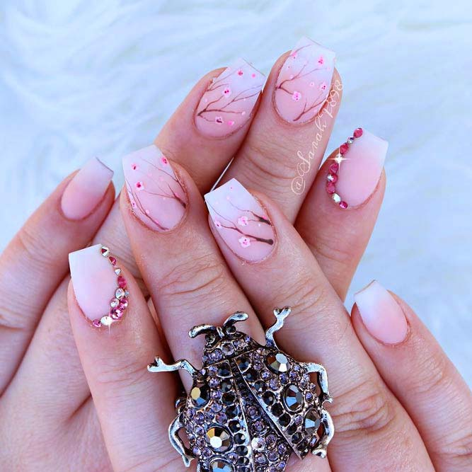 Light Pink French Ombre With Japanese Cherry Flowers