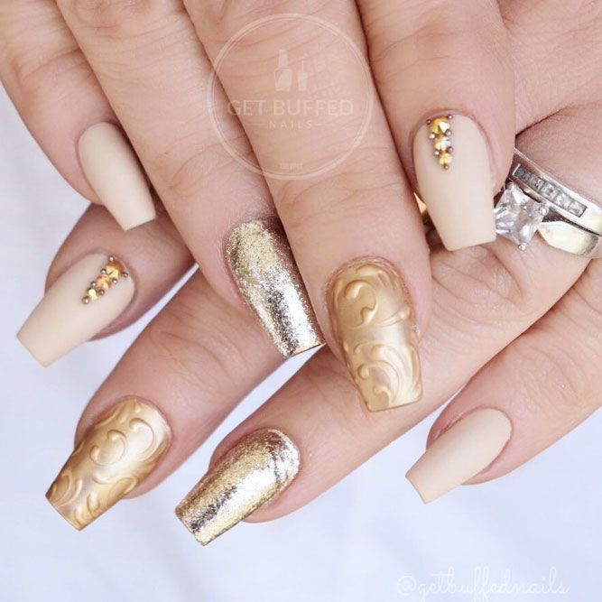 Matte Nude Color With Gold Glitter