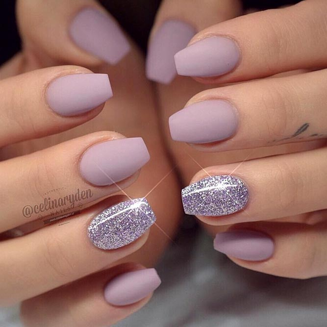 Sweet Glossy Lilac For Short Coffin Nails - 35 Outstanding Short Coffin Nails Design Ideas NailDesignsJournal.com