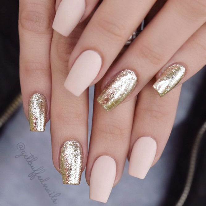 Matte Nude Color With Gold Glitter #coffinnails #nudenails