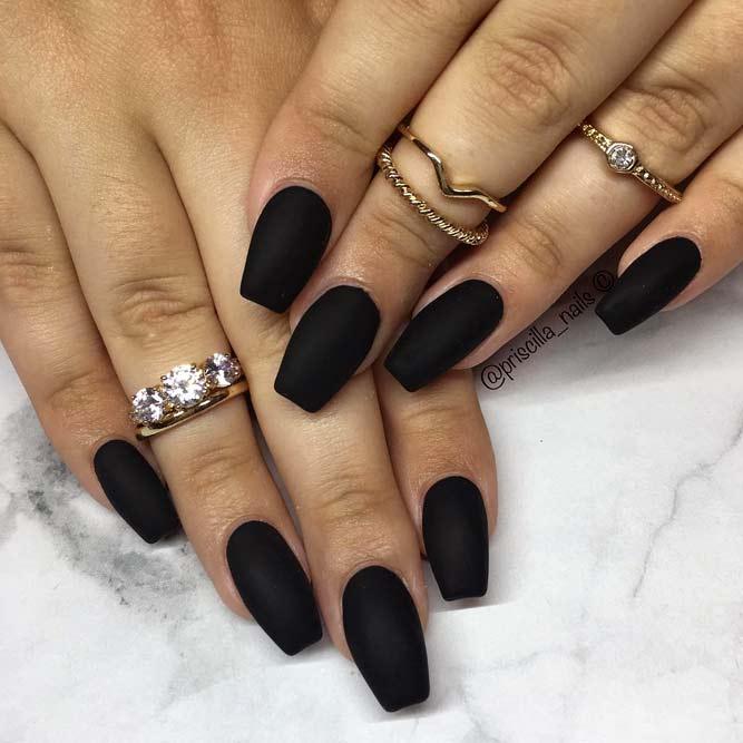 Matte Black Short Coffin Nails