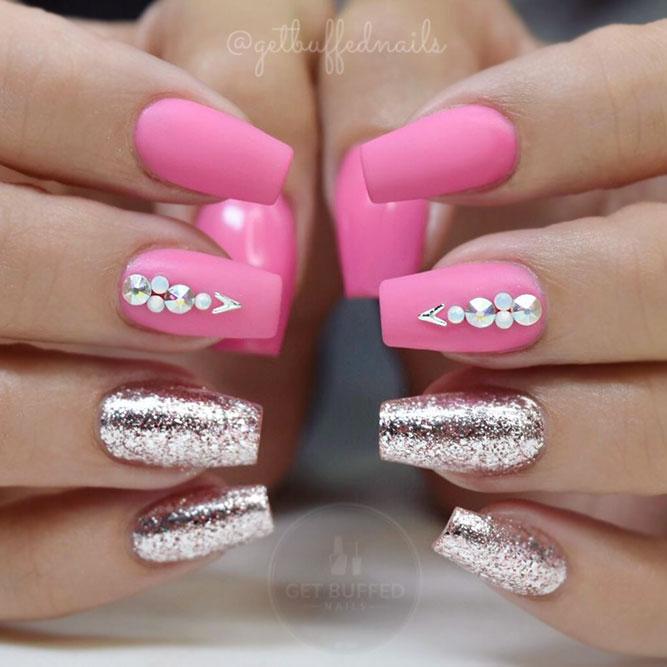 Bright Pink Color #coffinnails #glitternails