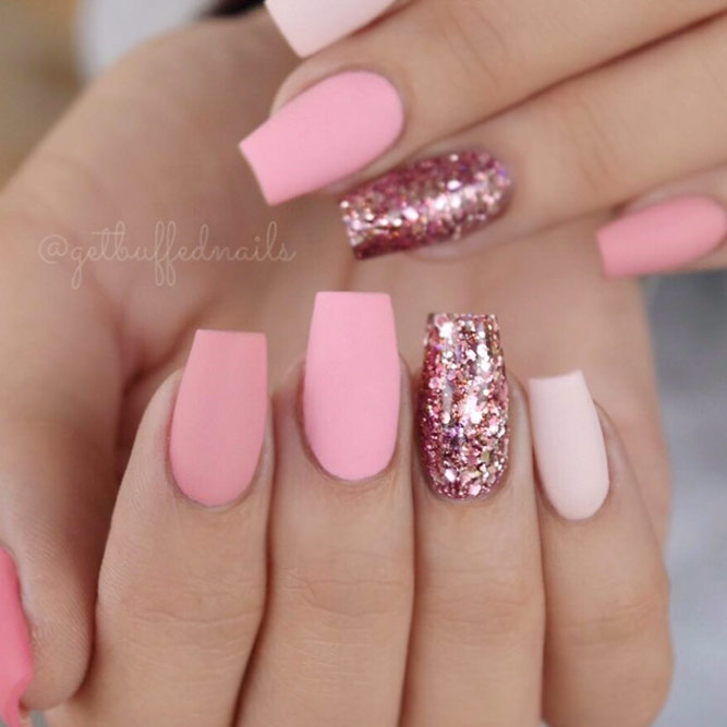 Sweet Pink Coffin Nails With Glitter Accents #pinknails #mattenails
