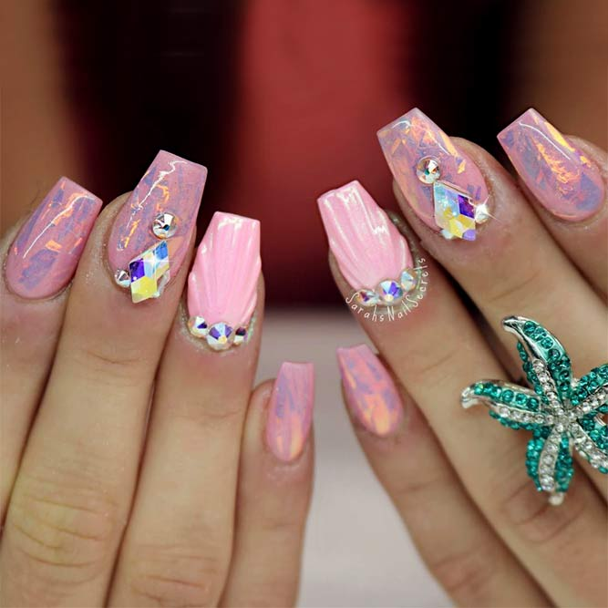 Mermaids Design For Coffin Nails With Rhinestones