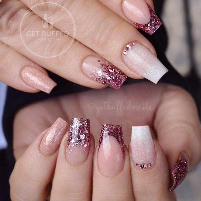Graceful Combination Of Nude And Glitter French Coffin Nails #glitterombre #nudenails