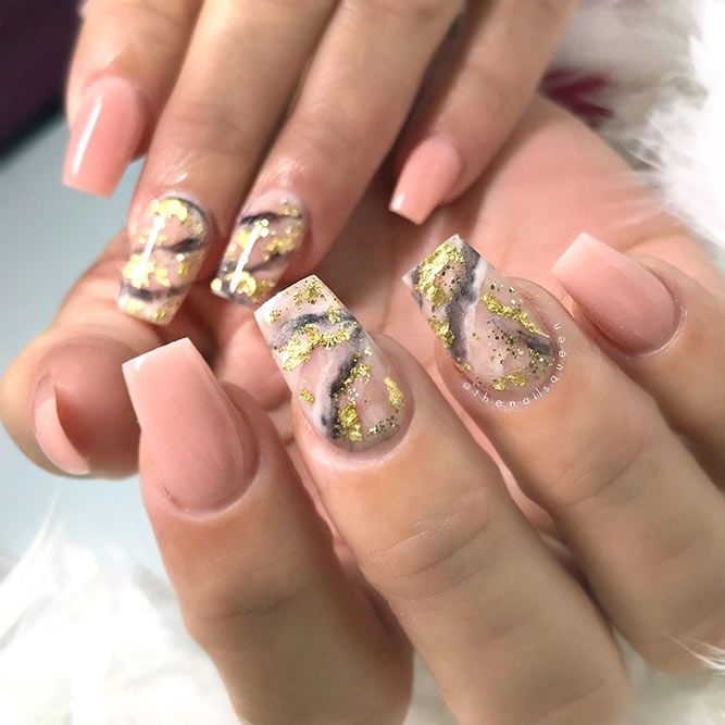 Nude And Gold Marble Stone Nail Art