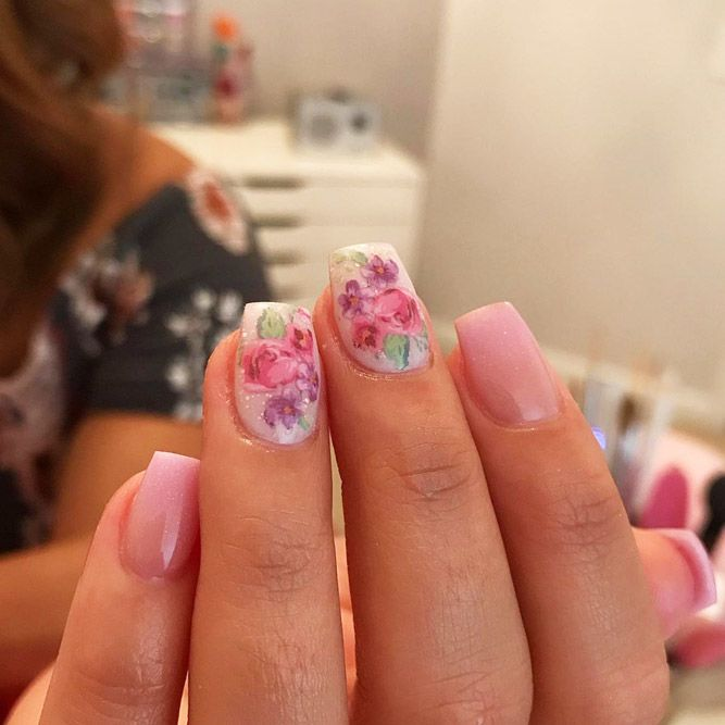 Light Pink Ombre With Roses Flowers