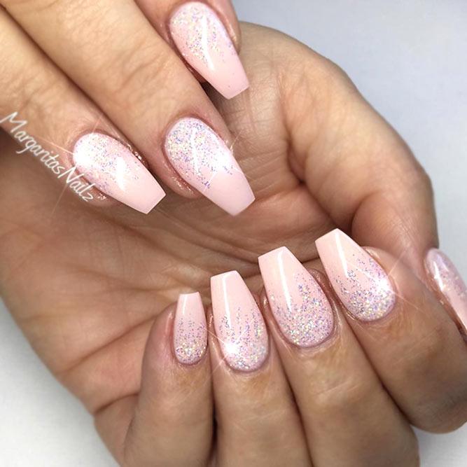 Pink With Silver Glitter Gradient #pinkweddingnails