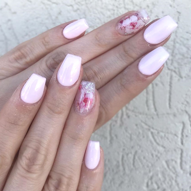 Delicate Pink Coffin Nails With Stickers