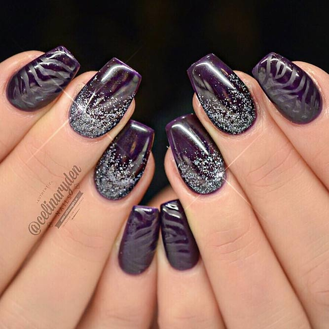 Totally Cool Purple and Lavender Designs for a Coffin Nail Shape picture 3