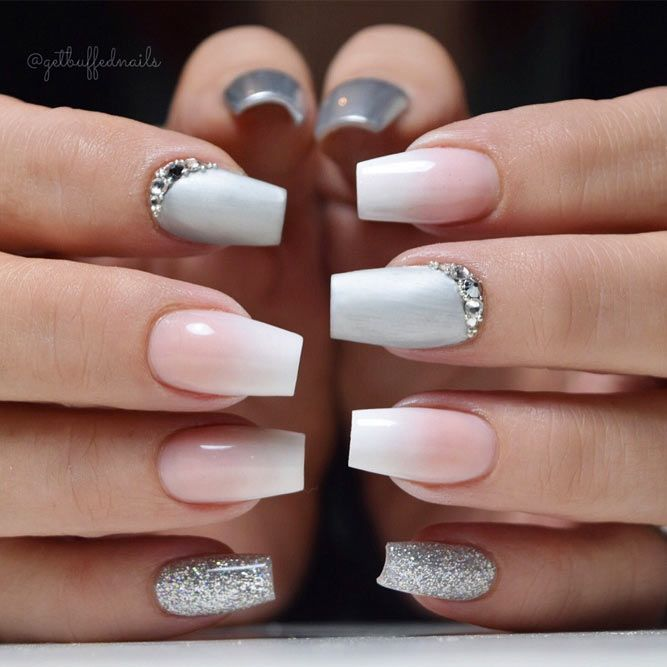 Nude Nails With Rhinestone Accent Finger