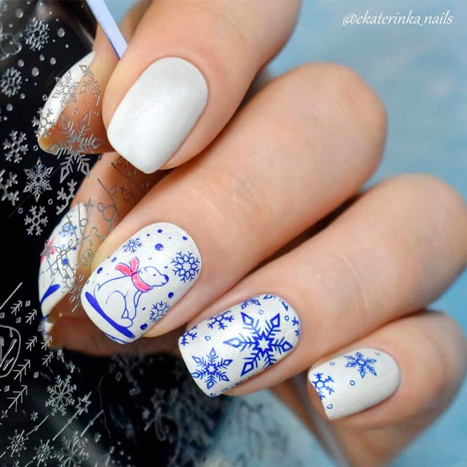 Stamping Nails With Polar Bear #stampingnails #snowflakesnails