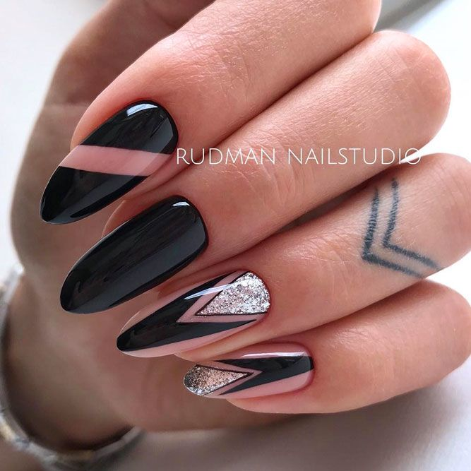 Black Nails with Silver Accent