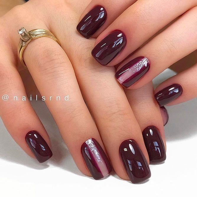 Dark Nails Art With Accented Finger