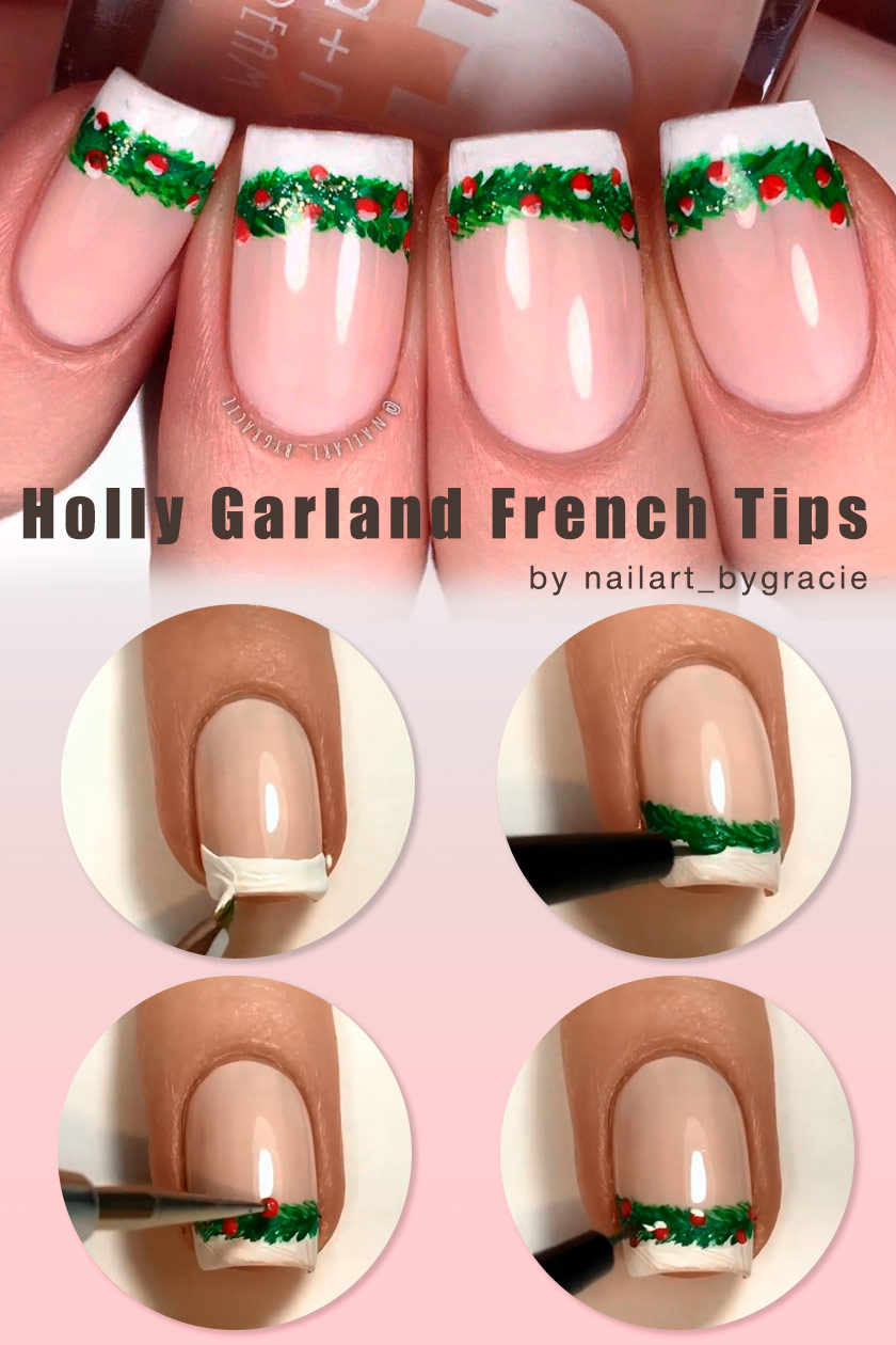 Holly Garland French Tips #winternails #holidaynailart