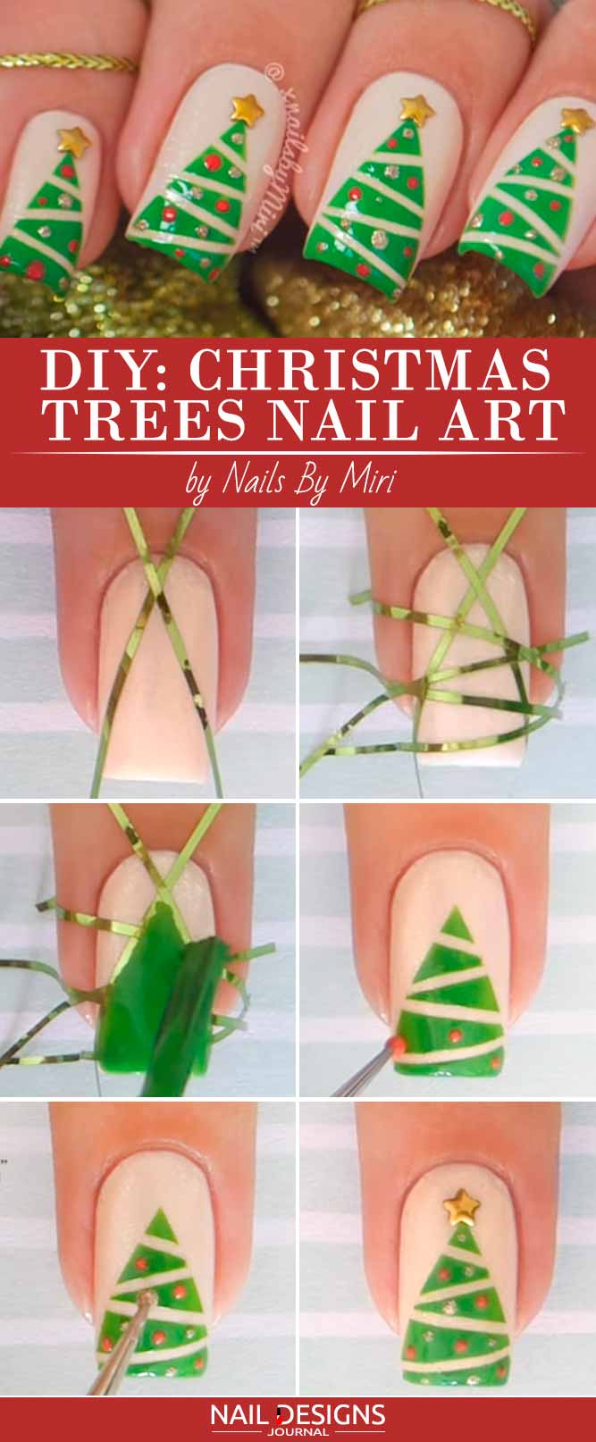 Cute Christmas Trees on Your Nails