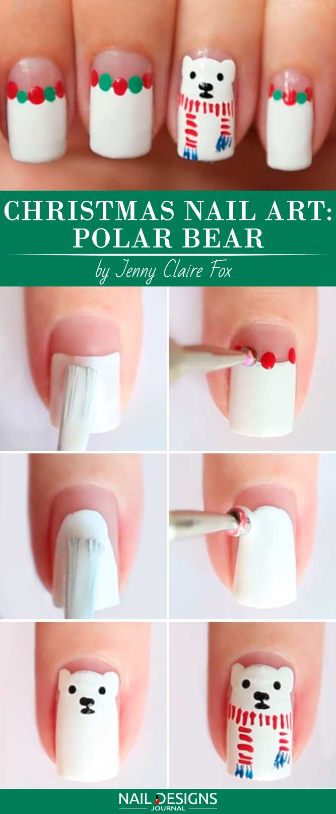 Christmas Nail Art Polar Bear