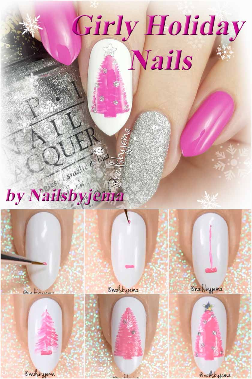 Girly Christmas Nails In Pink