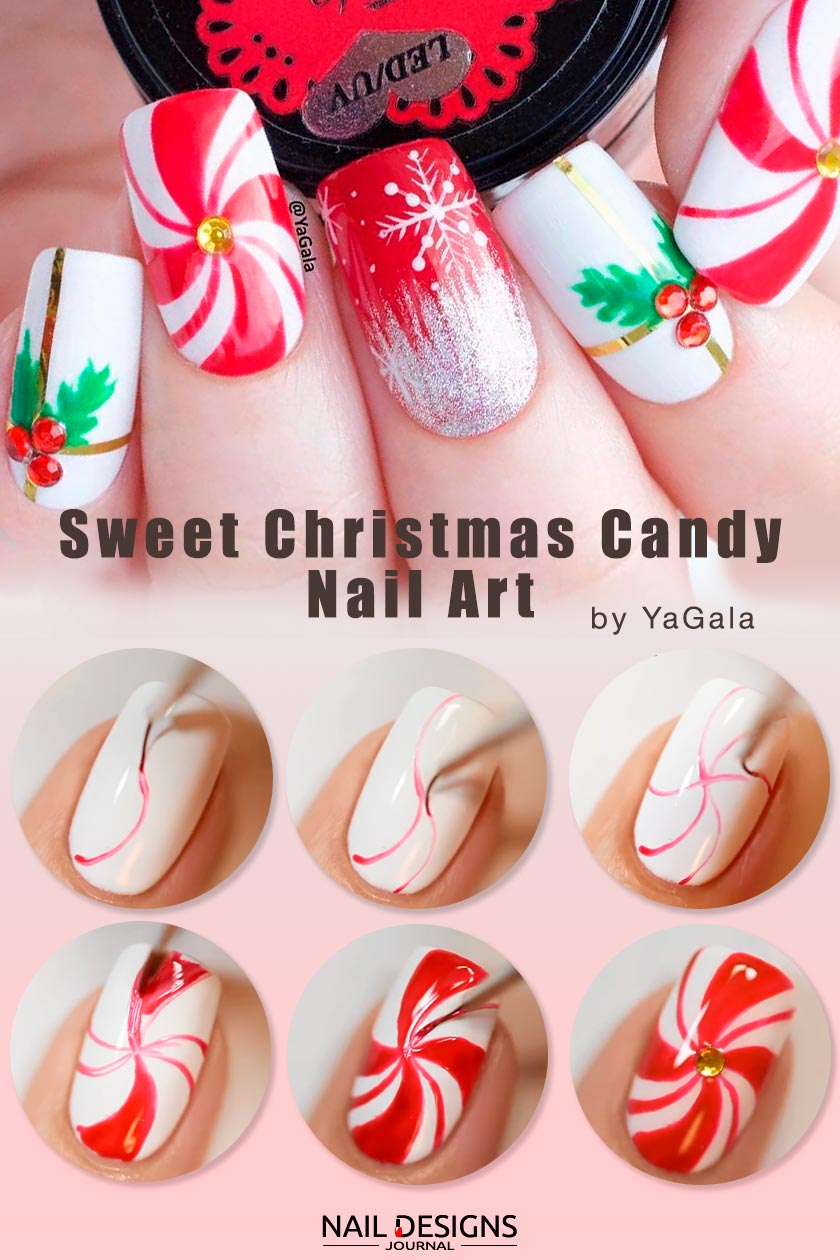 Sweet Christmas Candy Nail Art #winternails #easynailart