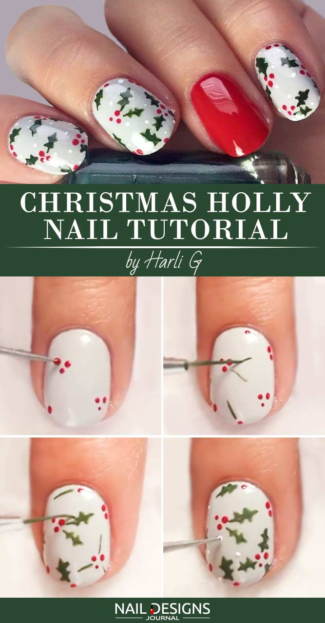 10 christmas nail art tutorials to master naildesignsjournal christmas holly nail tutorial prinsesfo Gallery