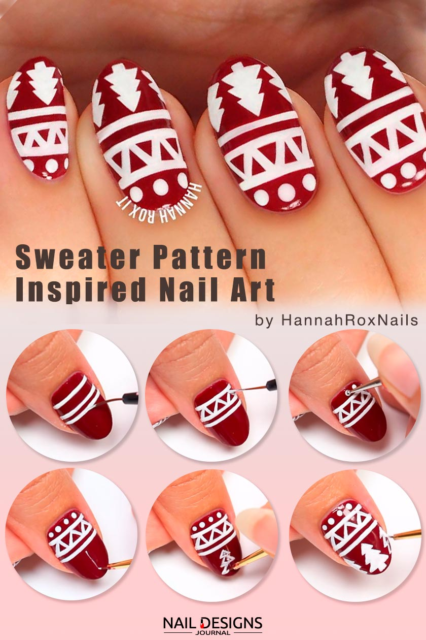 Sweater Pattern Inspired Nail Art #winternails #winternailart