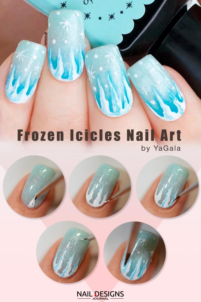 Frozen Icicles Nail Art #winternails #easynailsart