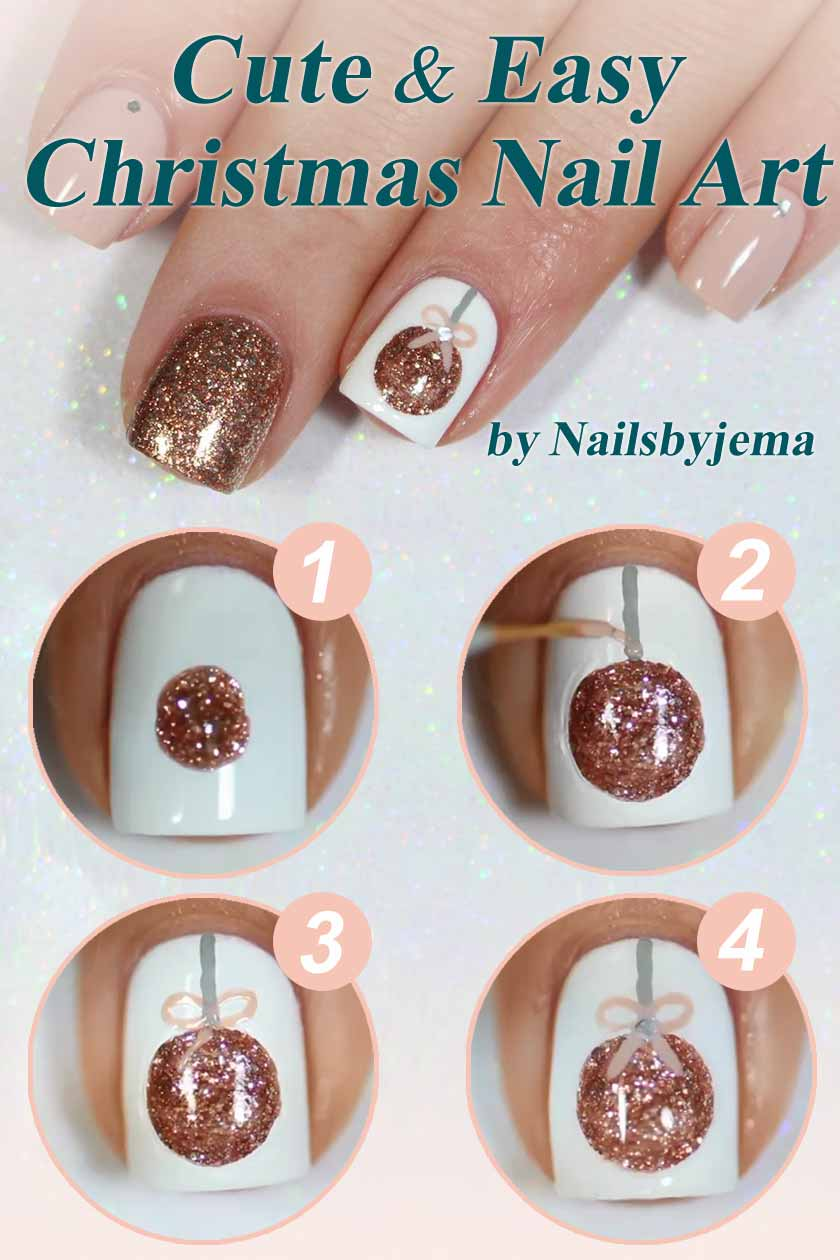 Sparkly Christmas Tree Ball Manicure Idea