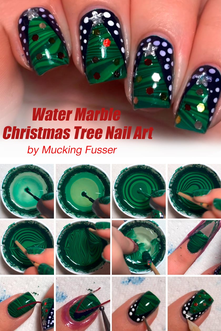 Water Marble Christmas Tree #winternails #nailarttutorial