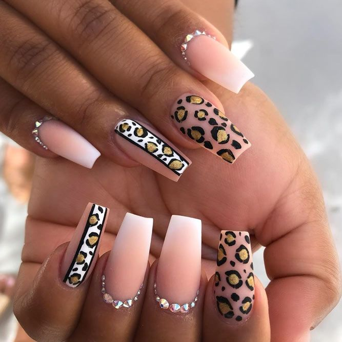 Snazzy Coffin Matte Nails With Precious Stones