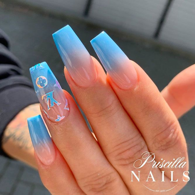 Negative Space Blue Coffin Nail Designs