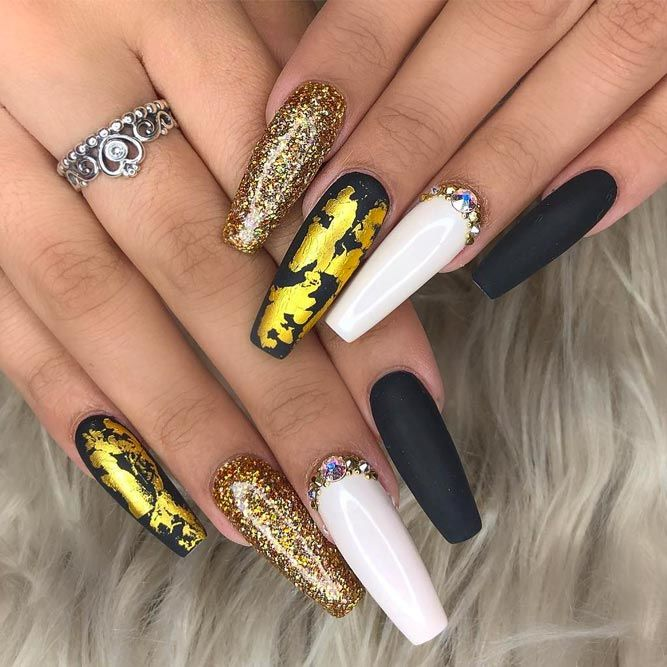 Matte Coffin Nails With Glitter Accents
