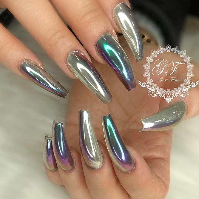 Metallic Designs For Coffin Nail Shape picture 2