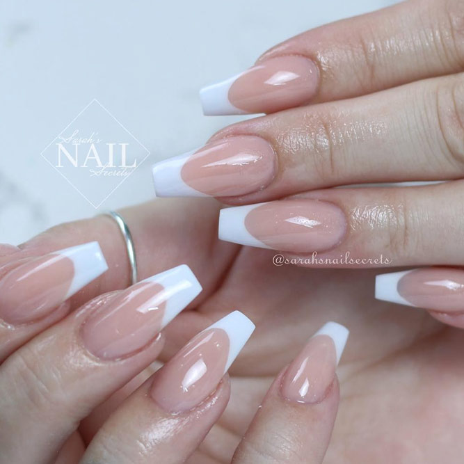 Coffin Tip Nails with French Manicure picture 2