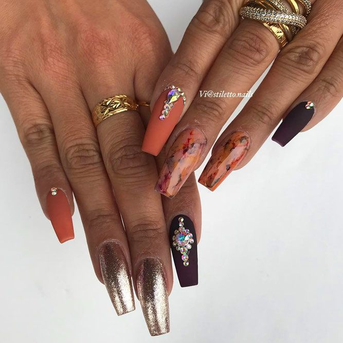 Matte Coffin Nails With Dazzling Glitter Accents