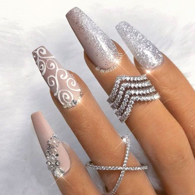 Matte Coffin Nails With Dazzling Glitter