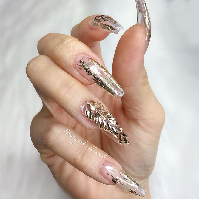 27 coffin nail designs youll want to wear right now glamorous foil nails picture 1 prinsesfo Images