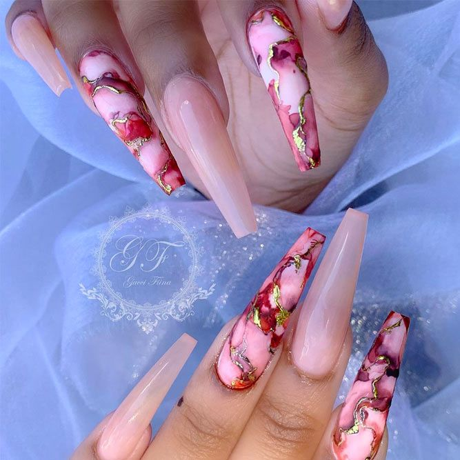 Long Coffin Nails Shapes With A Marble Effect