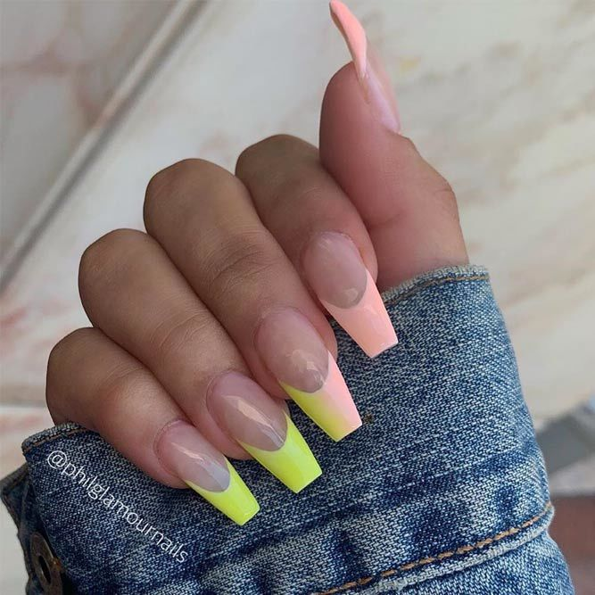 Coffin Tip Nails With Neon French Manicure