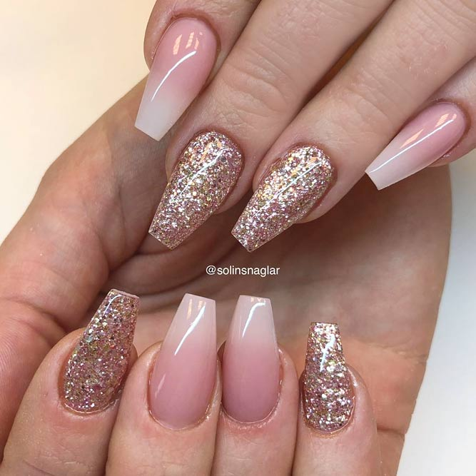 Glitter Accent Nail Designs With Nude Ombre #nudenails #ombrenails #glitternails