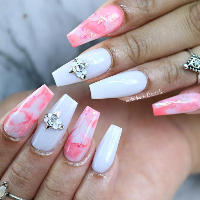 Coffin Nails Shapes with a Marble Effect picture 3