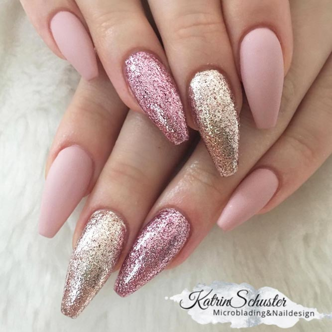 Long Matte Coffin Nails With Dazzling Glitter Accents For Real Ladies #pinknails #mattenails #glitternails