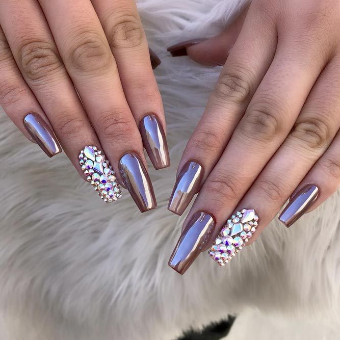 Metallic Designs For Coffin Nail Shape picture 3