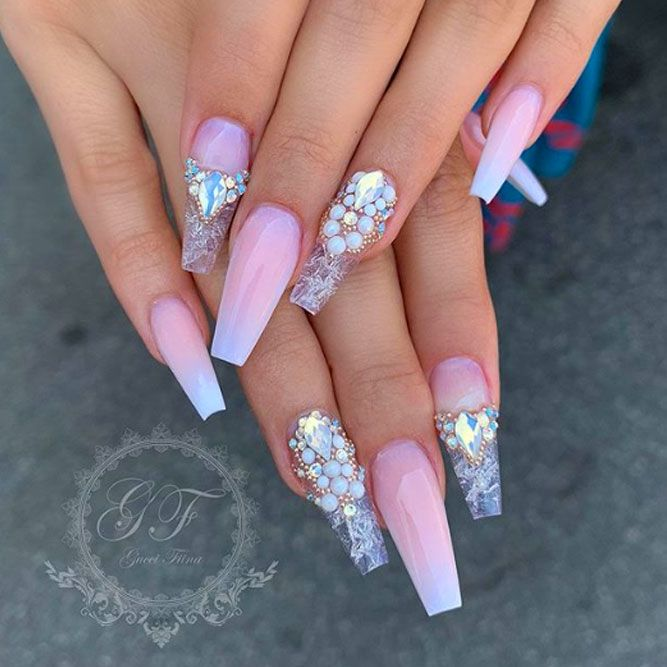 Frosted Coffin Nail Designs with Stones