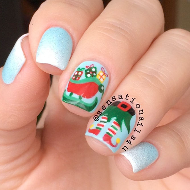 Holiday Nail Designs with Santa's Helpers picture 1