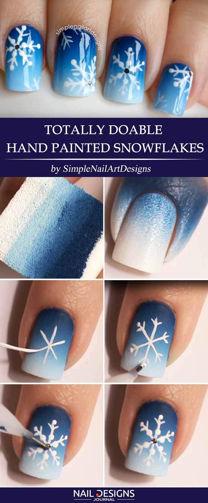 10 Easy Tutorials On Snowflake Nails Art Naildesignsjournal