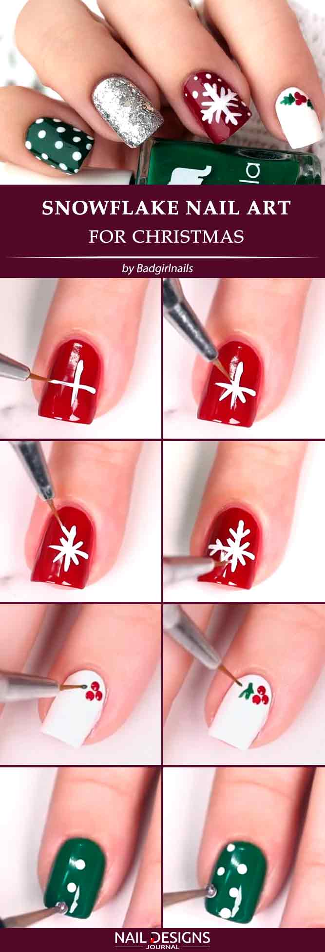 Snowflake Nail Art For Christmas