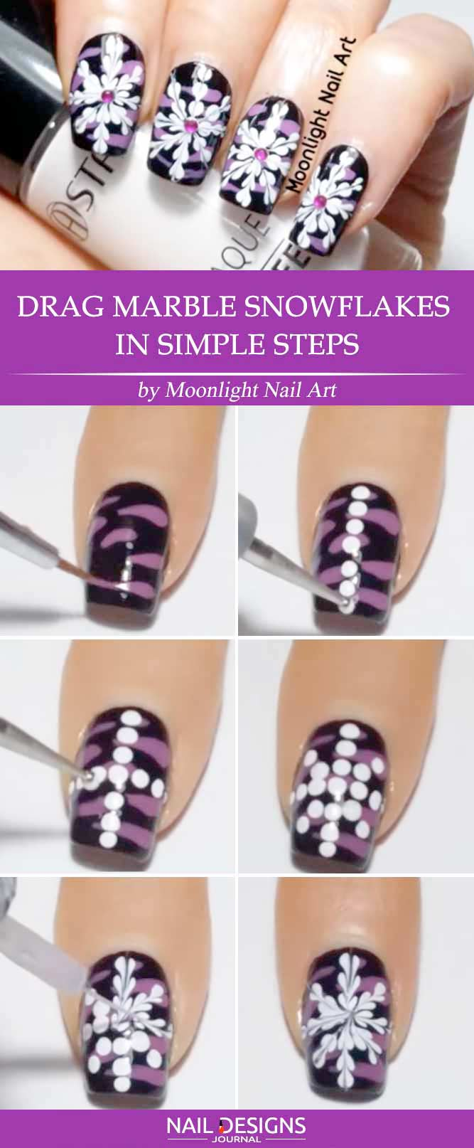 7 easy tutorials on snowflake nails art naildesignsjournal drag marble snowflakes in simple steps prinsesfo Image collections