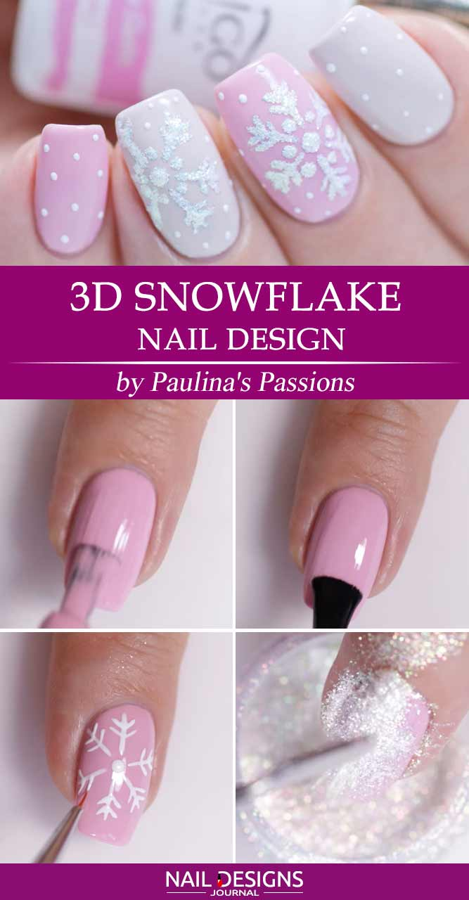 3D Snowflake Nails Design